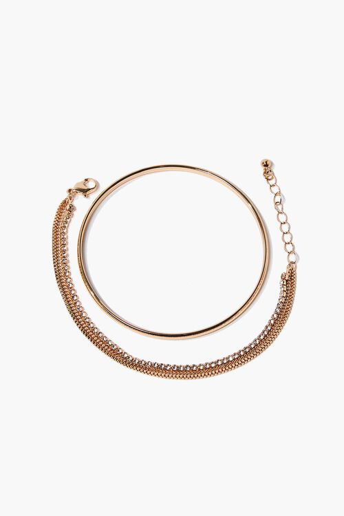 Rhinestone Chain Bracelet & Bangle Set, image 2