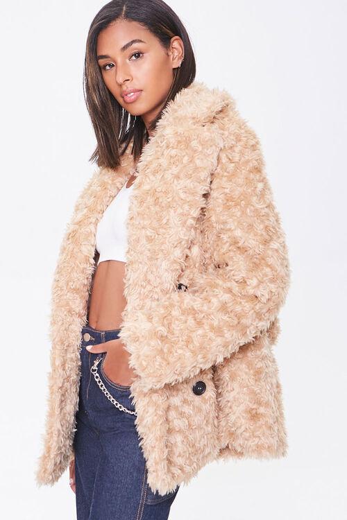 Boucle Faux Fur Buttoned Coat, image 2
