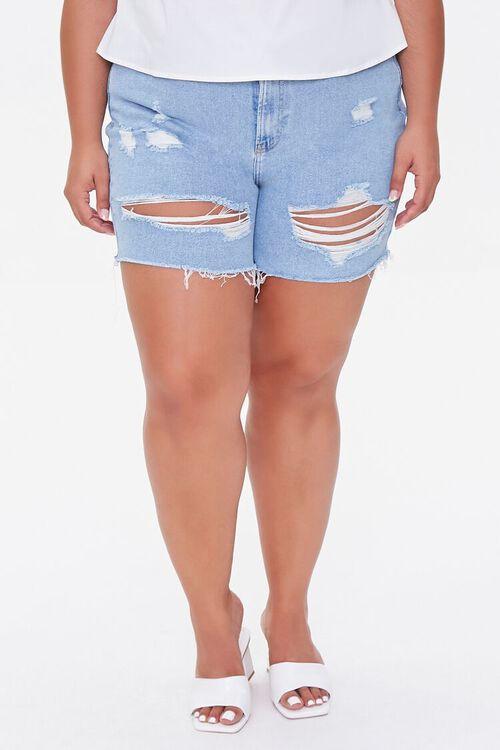 Plus Size Distressed Denim Shorts, image 2