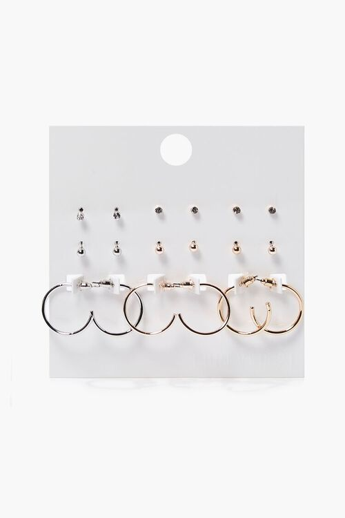 Metallic Hoop & Stud Earring Set, image 1