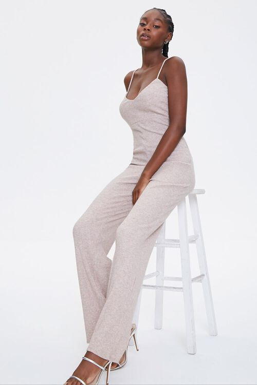 OATMEAL Ribbed Cami Jumpsuit, image 1