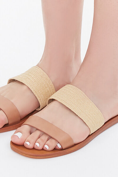 Faux Straw Basketwoven Flat Sandals, image 5