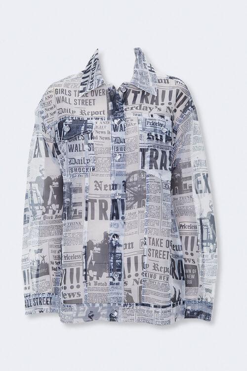 Sheer Newspaper Print Jacket, image 1