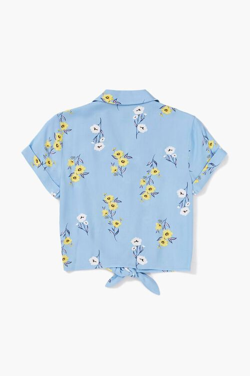 Girls Knotted Floral Shirt (Kids), image 2