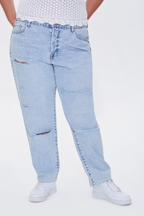 Plus Size Distressed High-Rise Jeans, image 2