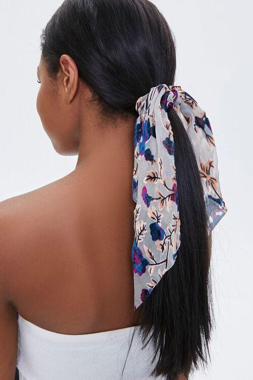 TAUPE/MULTI Floral Leaf Print Bow Scrunchie, image 1