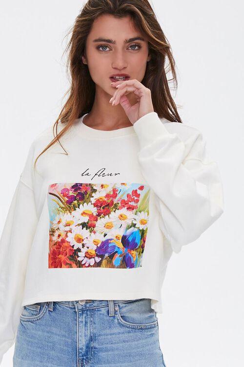 Floral Graphic Boxy Sweatshirt, image 2