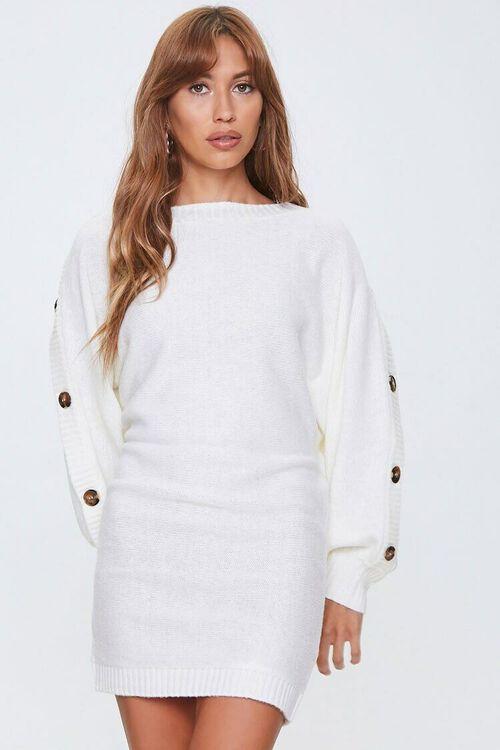 IVORY Button-Trim Sweater Dress, image 4