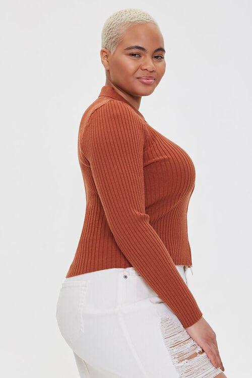 Plus Size Collared Zip-Up Cardigan, image 2