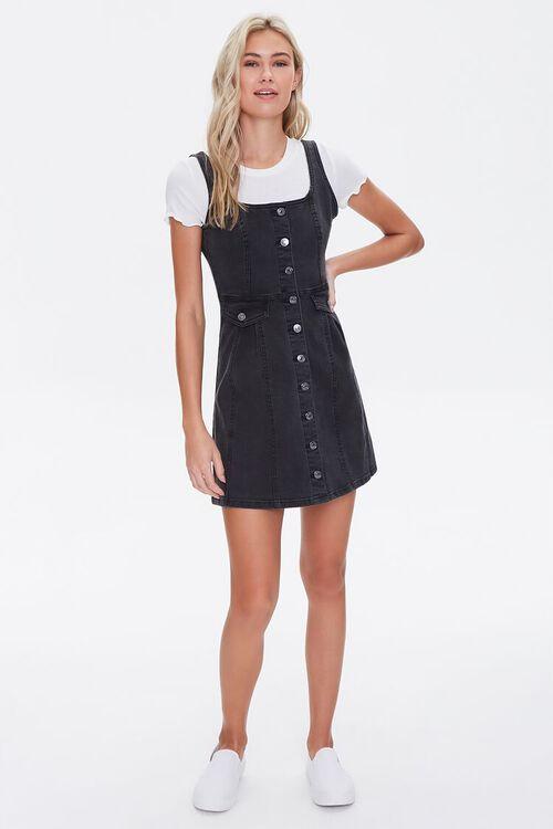 Denim Pinafore Mini Dress, image 4