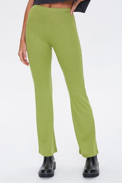 Ribbed Knit Flare Pants, image 2