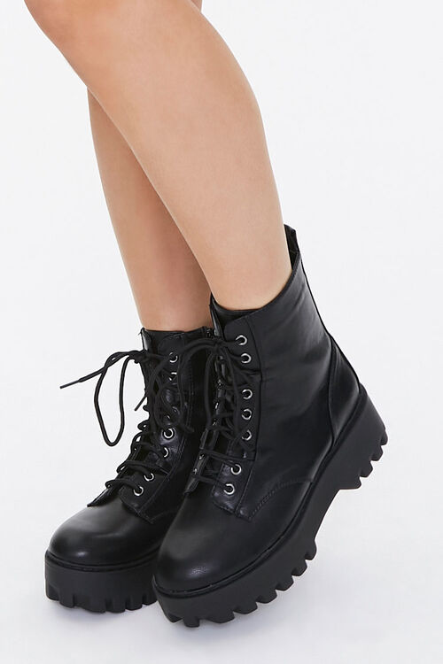 Faux Leather Lace-Up Platform Boots, image 1