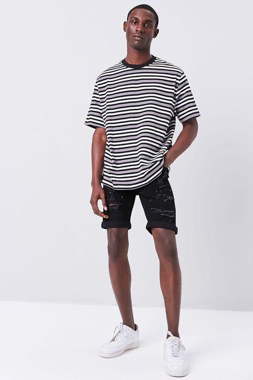 Paint Splatter Distressed Denim Shorts, image 5
