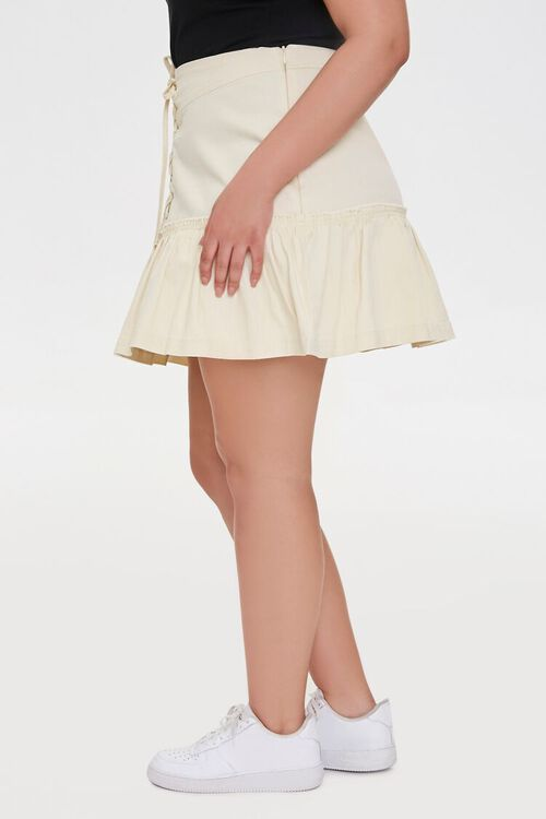 Plus Size Lace-Up Mini Skirt, image 3