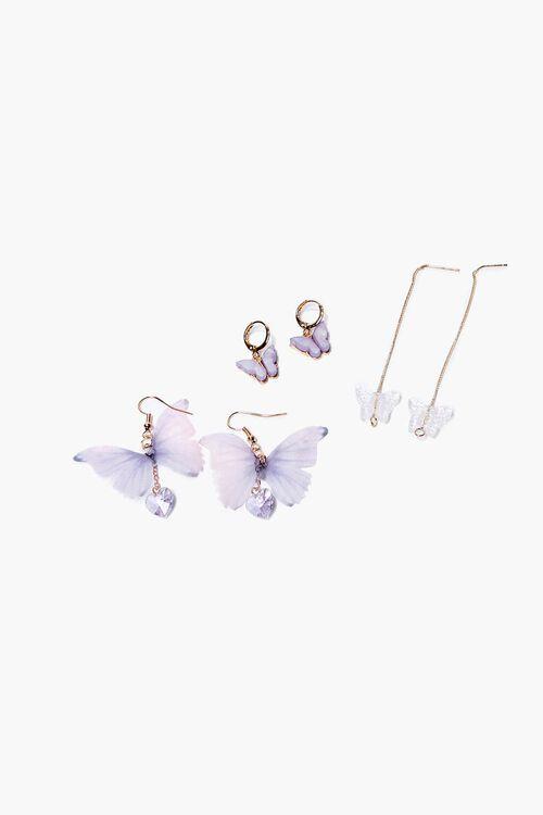 GOLD/PURPLE Butterfly Drop & Hoop Earrings Set, image 1