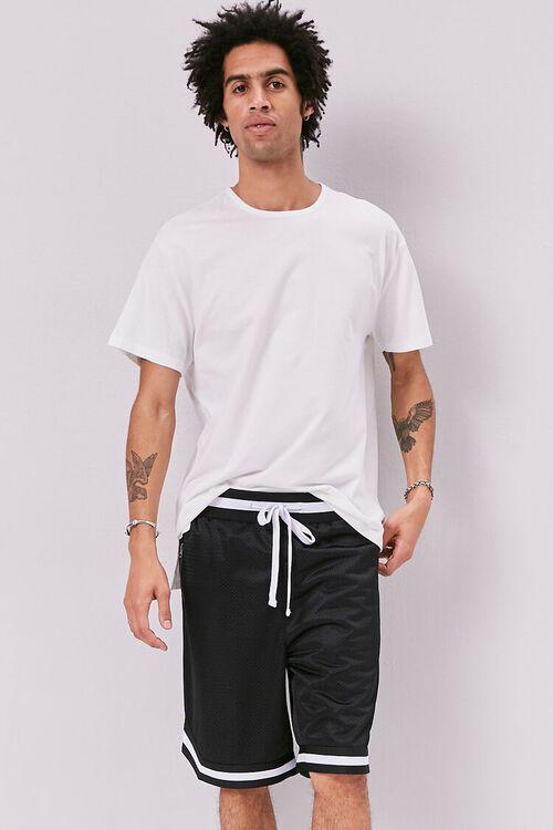 Varsity-Striped Mesh Shorts, image 1