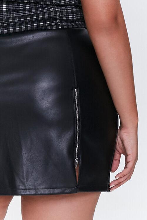 BLACK Plus Size Faux Leather Mini Skirt, image 5