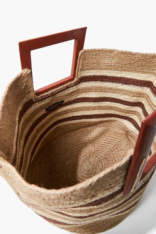 Striped Straw Tote Bag, image 3