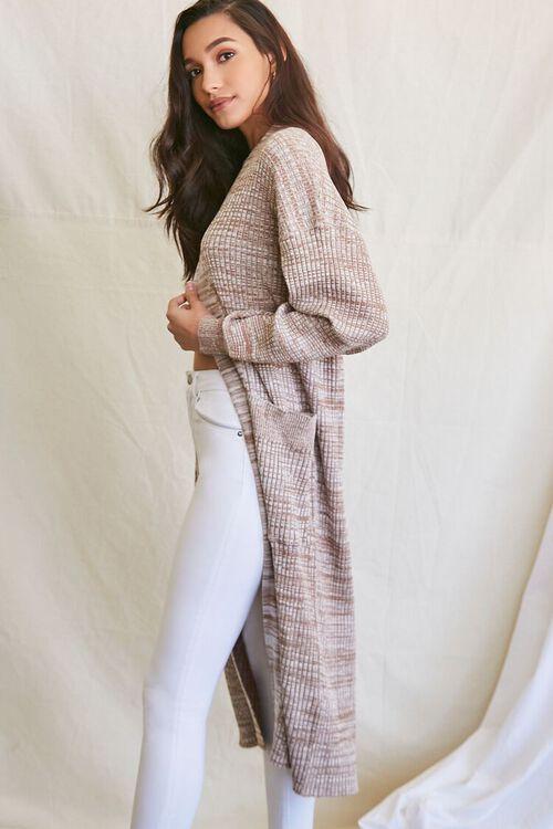 TAUPE/MULTI Longline Cardigan Sweater, image 1
