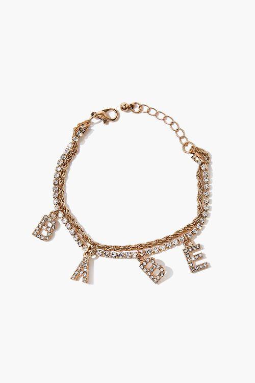 Babe Rhinestone Charm Bracelet, image 1