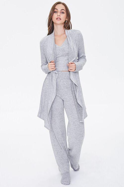 Heathered Draped-Front Robe, image 4