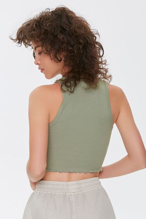 OLIVE Lettuce-Edge Cropped Tank Top, image 3
