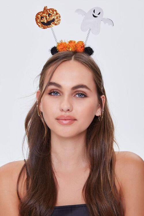 ORANGE Halloween Pom Pom Headband, image 1