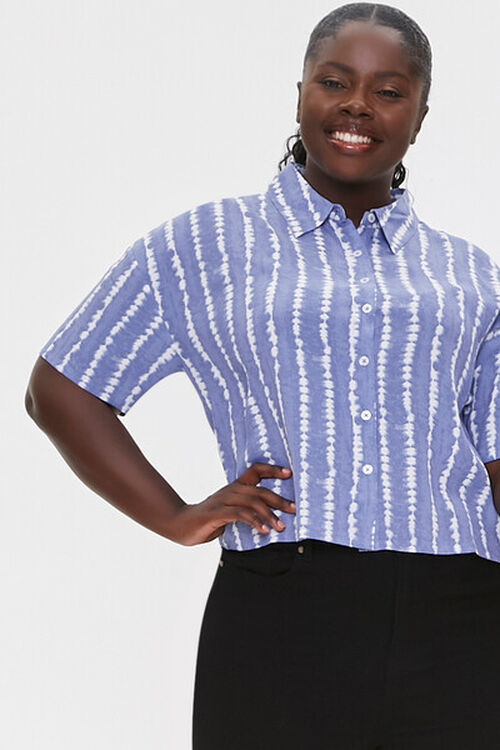 Plus Size Abstract Striped Shirt, image 1