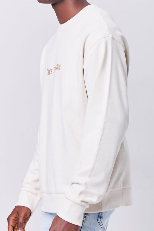 CREAM/YELLOW Take It Easy Embroidered Graphic Pullover, image 2