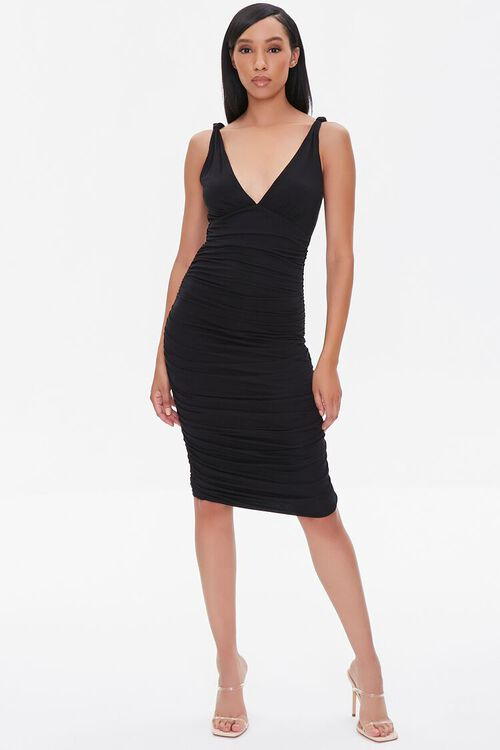 Ruched Knee-Length Bodycon Dress, image 4