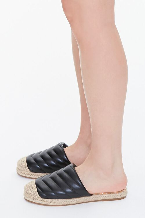 BLACK Quilted Espadrille Flats, image 2