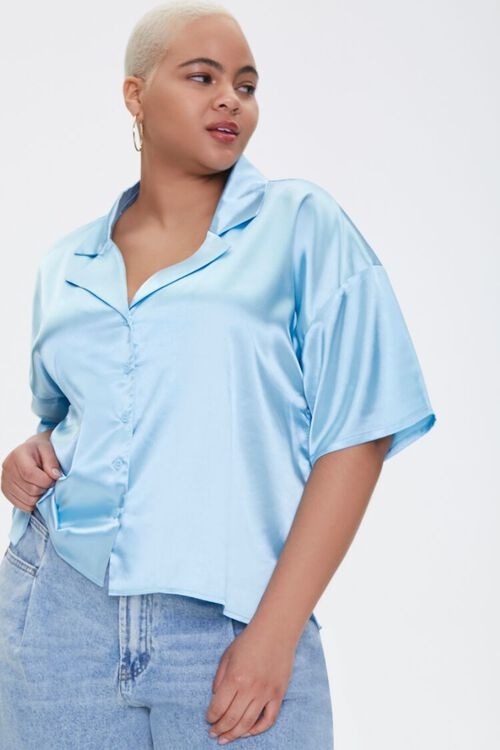 Plus Size Cropped Satin Shirt, image 1