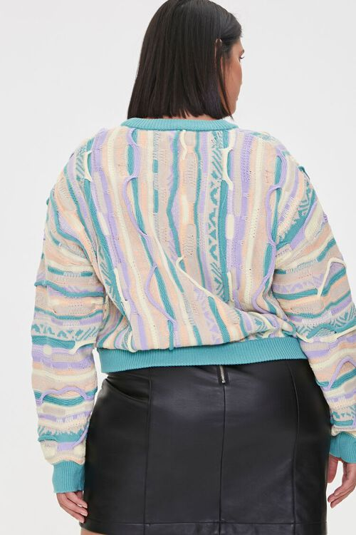 Plus Size Multicolored Cable Knit Sweater, image 3