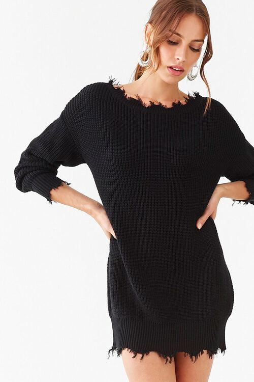 Distressed Mini Sweater Dress, image 1