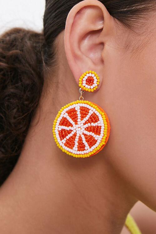 Beaded Orange Slice Drop Earrings, image 1