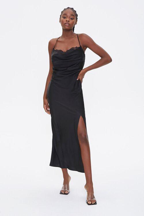 Satin Lace-Trim Side-Slit Dress, image 1