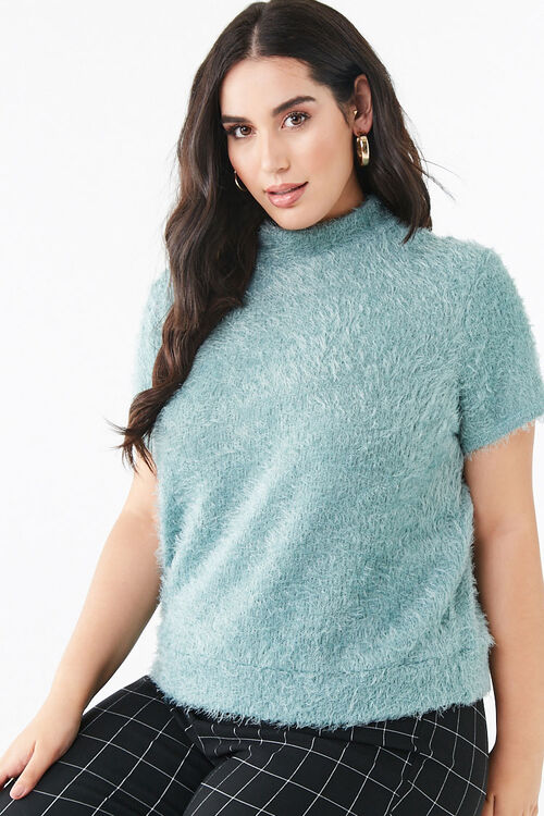 Plus Size Feathered Knit Tee, image 1