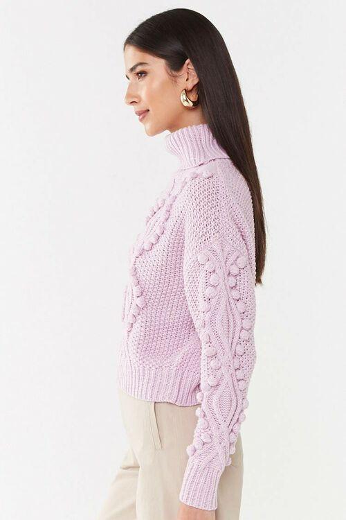 Turtleneck Cable-Knit Pom Pom Sweater, image 2