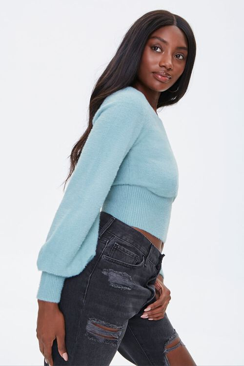 Fuzzy Knit Peasant-Sleeve Sweater, image 2