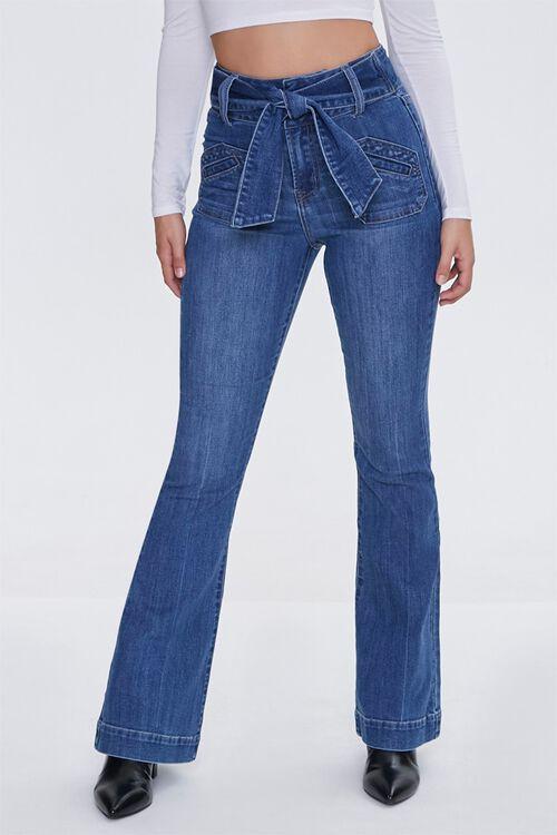 Sash Bow-Belt Flare Jeans, image 2