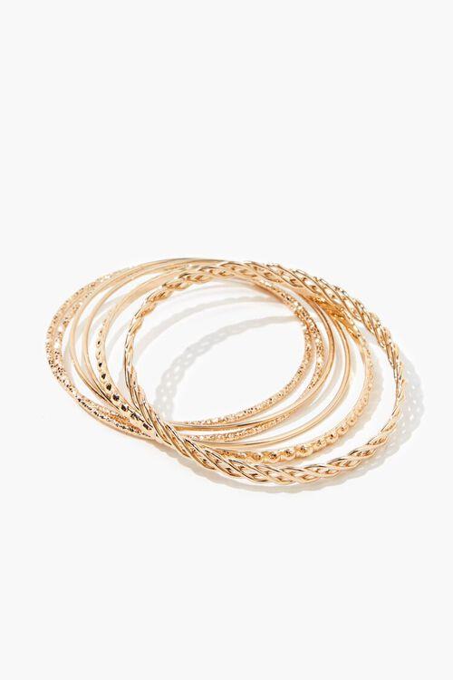 GOLD Textured Bangle Bracelet Set, image 1