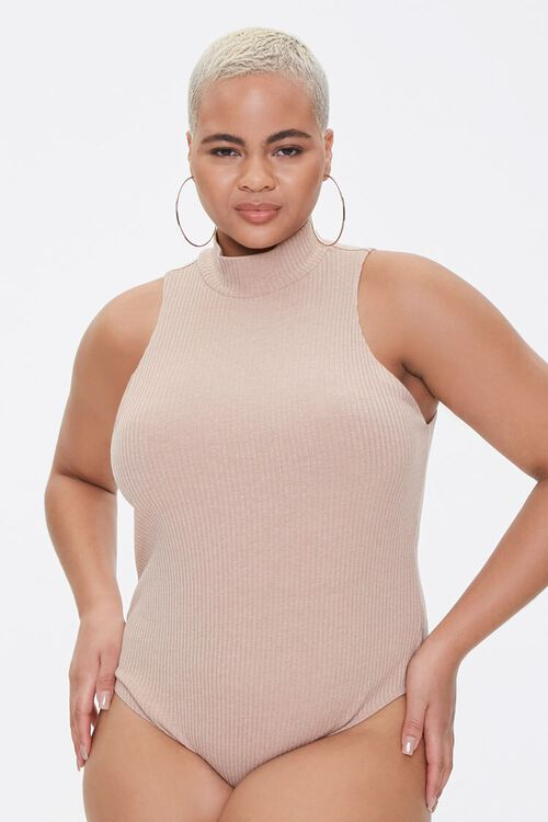 Plus Size Ribbed Mock Neck Bodysuit, image 5