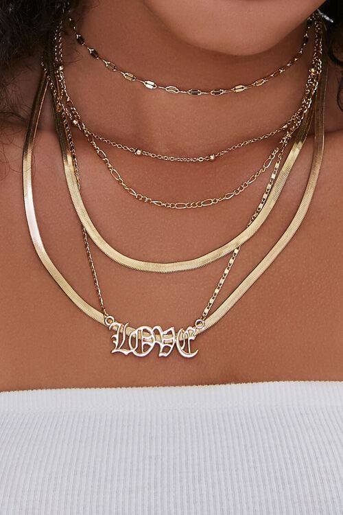 Love Pendant Layered Snake Chain Necklace, image 1