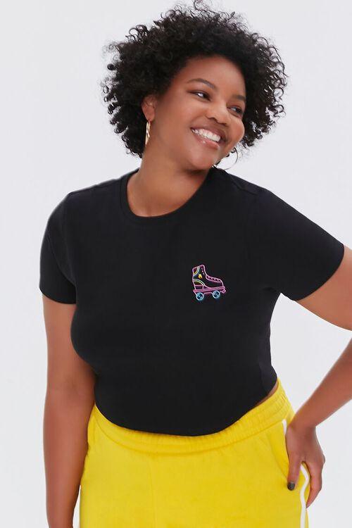 Plus Size Moxi Skates Embroidered Graphic Tee, image 1
