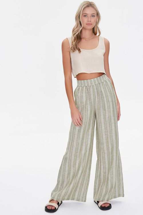 Striped Linen-Blend Pants, image 1