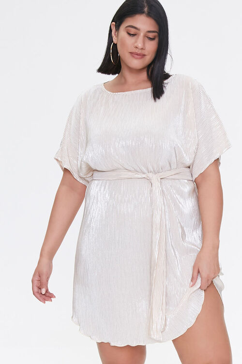 Plus Size Metallic Dolman Dress, image 1