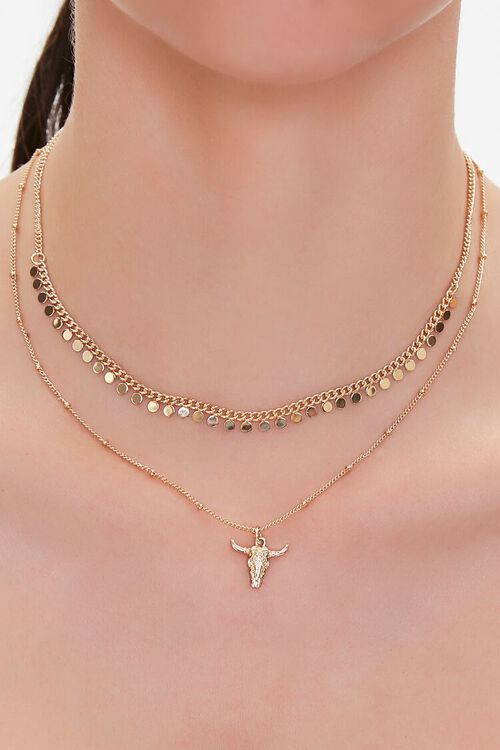 GOLD Steer Pendant Layered Necklace, image 1