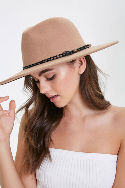 Faux Suede Bow-Trim Fedora, image 1