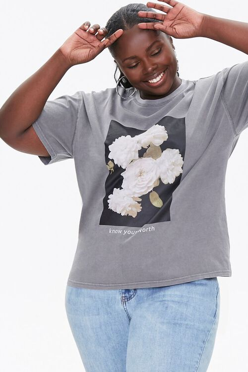 Plus Size Floral Graphic Tee, image 1