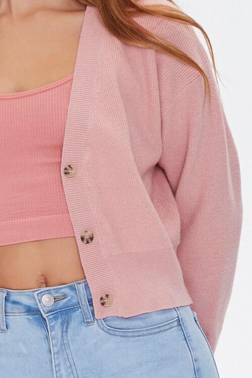 DUSTY PINK Button-Front Cardigan Sweater, image 5